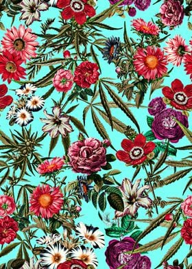 Marijuana and Floral Pattern II