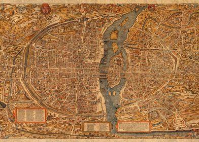 Map of Paris France 1550