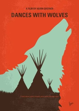 No949 My Dances with Wolves minimal movie poster