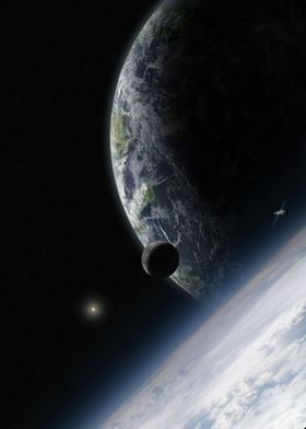 Space from the high atmosphere of an alien planet