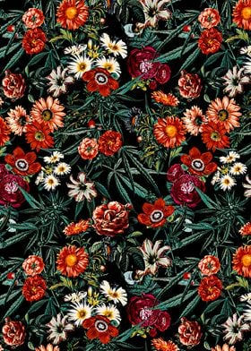 Marijuana and Floral Pattern