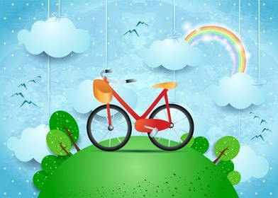 Surreal landscape with hamging clouds and bike