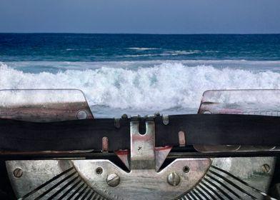 Crashing ocean waves and vintage typewriter machin