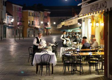 Restaurant in Burano iland, Vencie, Italy