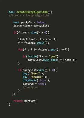 Create a Party Algorithm in C++