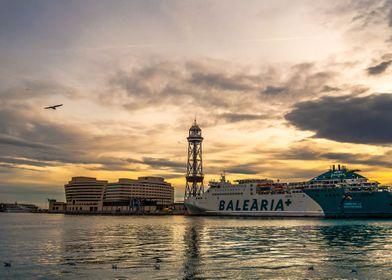Sunset in Port de Barcelona