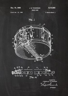 1962 Snare Drum - Patent Draw