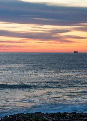 Leaving Port at Sunset