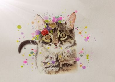 Watercolor cat drawing