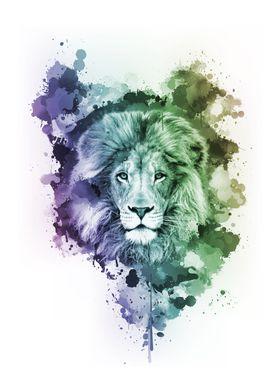 Inked Safari - Colorful Lion