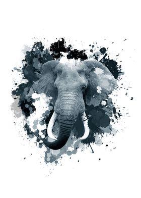 Inked Safari - Elephant B&W