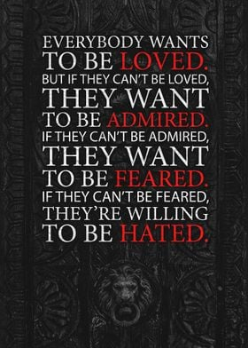 Loved,Admired,Feared,Hated