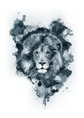 Inked Safari - Lion B&W