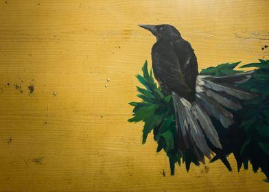 Crow on plate