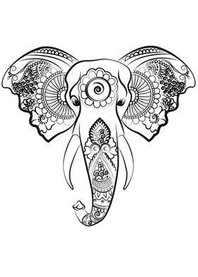 beautiful elephant line art