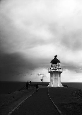 Cloudy Lighthouse B/W