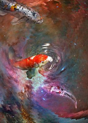 Koi in a nebula pond