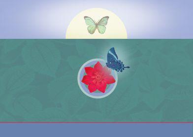 Butterflies & Red Flower
