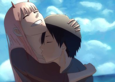 Zero Two and Hiro Kiss