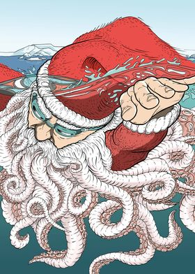 Swimming Santa Claus