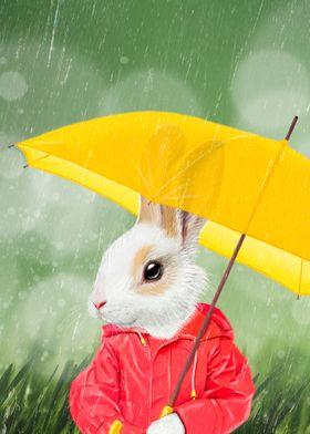 It's raining, little bunny