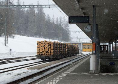 Swiss Alps Train Station