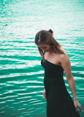 Black dress in ther water