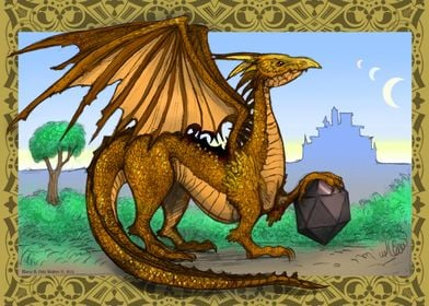 Golden dragon with die.