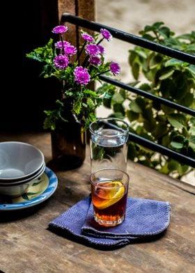tea on a table with flower