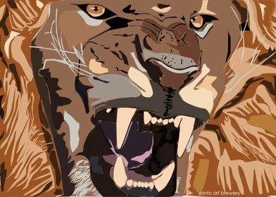 Aggressive lion roar