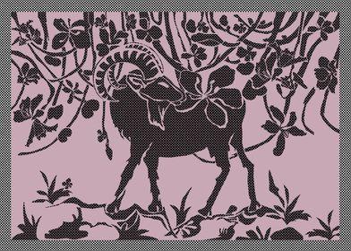 Goat flower graphic art