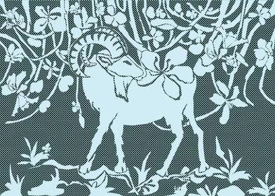 Graphic art goat flowers