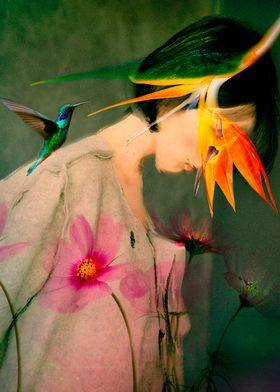 Woman between flowers