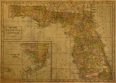 Vintage Map of Florida