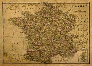 Vintage Map of France 1892