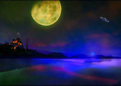 Green Moon Planet