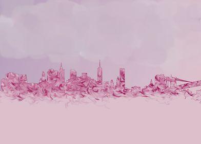 Manhattan skyline - pinks