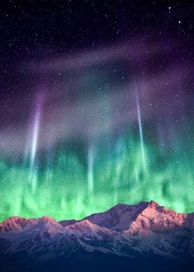 aurora borealis & mountain