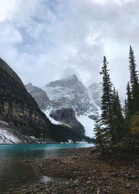 Moody Alpine Lake Scene