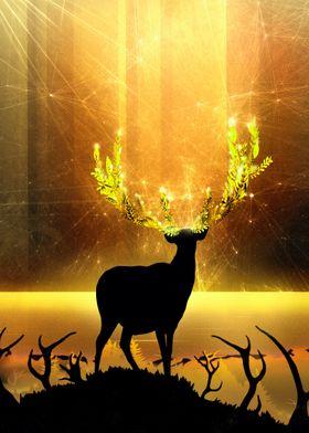 Greenery Deer  Golden Sun