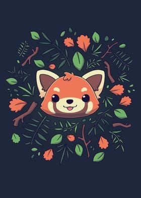 Red Panda Autumn Leaves