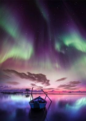 Aurora over the sea