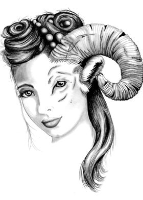 Woman Goat Face