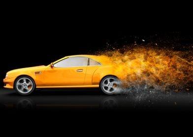 Yellow sport coupe