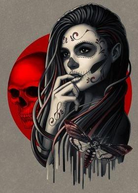Sugar Skull Girl with Moth