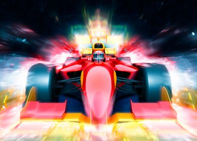 F1 bolide with lights