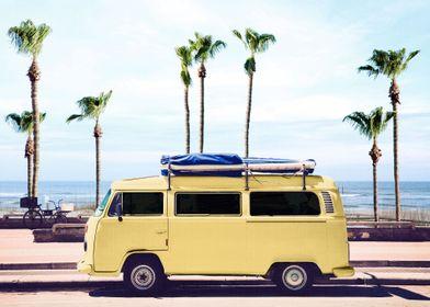 Surfers Yellow Van