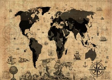 world map vintage sepia
