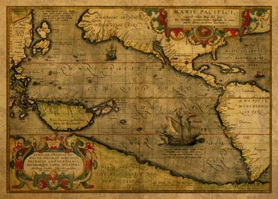 Old Map Pacific Ocean 1579