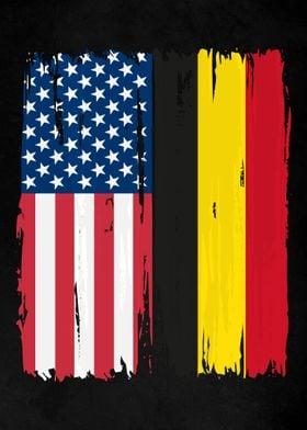USA Belgium Split Flag